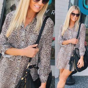 Confidence Is Key Cheetah Shirt Dress